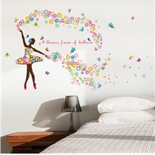 3D flower girls wall stickers for bedroom removable colorful wall deca..
