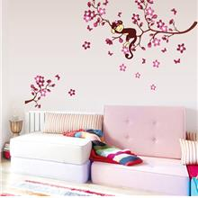 Pink monkey tree wall stickers for kids room removable cartoon nursery..