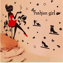 Cartoon fashion girls wall stickers for bedroom home decor living room..