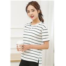Lovely Wide Stripe Loose Blouse (White Green)