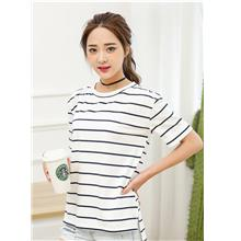 Lovely Wide Stripe Loose Blouse (White Black)