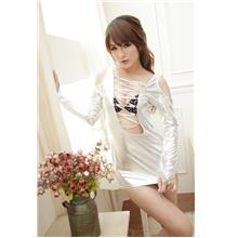 Sexy Hollow Long-sleeved Patent Leather Suit (Silver)