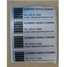 80x25mm silver sticker label printing
