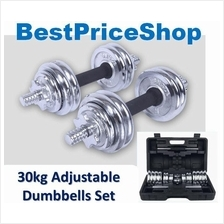 30kg Adjustable Professional Quality Chrome Dumbbell Set Barbell Pair