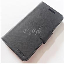 MERCURY Fancy Diary Book Case Flip Cover Pouch Lenovo A850 ~BLACK *XPD