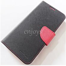 MERCURY Fancy Diary Case Cover Lenovo A7000 / A7000 Plus ~BLACK/RED