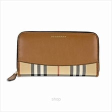 Burberry House Check and Sartorial Leather Wallet in Tan)