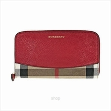 Burberry House Check and Sartorial Leather Wallet in Russet Red)