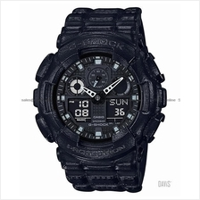 CASIO GA-100BT-1A G-SHOCK ana-digi leather texture resin strap black