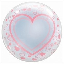 T-Balloon Stretchy Plastic Balloon Pink Heart Shapes All-Over Japan