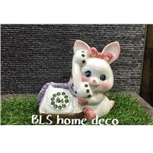 PORCELAIN H 13.5 CM RABBIT COIN BOX GIFT DECORATION