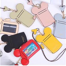 PU Leather Bank Credit Card Holder Card Cover Cute Mouse Ear Shape Car