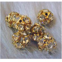 8mm Gold Czech Crystal rhinestone Fire ball beads 6p Spacers Beads