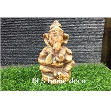 POLYRESIN H 13.5 CM SITTING BROWN GANESHA HOME DECORATION GIFT DECO