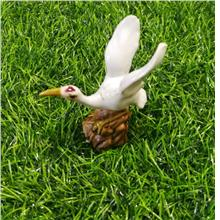 POLYRESIN  WHITE COLOUR STORK BIRD DECORATION H 8.5 CM