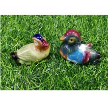 PORCELAIN MANDARIN DUCK 1 PAIR STATUE ANIMALS GIFT H 3.9 CM