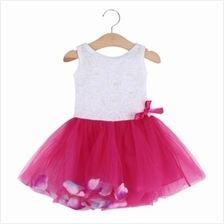 CUTE ROUND COLLAR SLEEVELESS COLORFUL PETALS BABY GIRLS GAUZE VEST DRESS (RED)