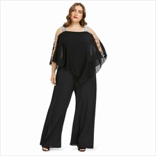 Plus Size Ladder Cut Out Capelet Jumpsuit (BLACK)