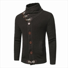 COWL NECK HORN BUTTON SINGLE BREASTED CARDIGAN (DEEP GRAY)
