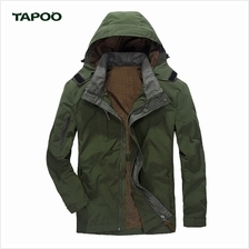 TAPOO CASUAL SOLID COLOR ZIPPER DESIGN MALE HOODED COAT