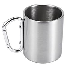 220ML STAINLESS STEEL COFFEE CUP WITH HANDLE CARABINER HOOK FOR OUTDOOR PICNIC