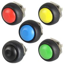 5 Pcs Black/Red/Green/Yellow/Blue 12mm Waterproof Switch Button Moment..