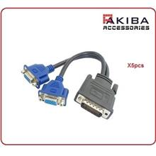 5pcs DMS59 M to Dual 2X VGA F Splitter Cable