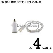 4 units Efficient & Fast Charging 5V 1A Car Charger + MicroUSB Cable