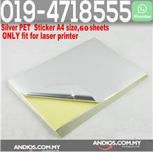 A4 Matte Silver Label Sticker Paper for Inkjet Printer (60 SHEETS)