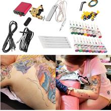 New Tattoo Machines Gun Equipment Power Supply 20 Color Ink Cup Tattoo..