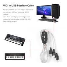 MIDI to USB Interface Cable Adapter for Converter PC to Music Keyboard..