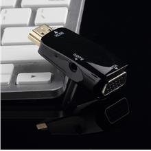 HDMI Male To VGA Female Converter Box Adapter With Audio Cable For PC ..