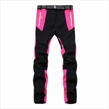 WATERPROOF WARM OUTDOOR SOFT SHELL PANTS FOR WOMEN (BLACK + ROSE RED)