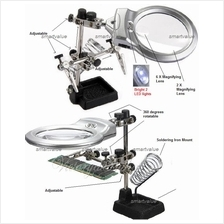 SturdyThird Hand Soldering Iron Stand Tool+Magnifier with 2 LED Lights