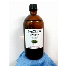 EvaChem Plant Based Glycerol/ Glycerin 500 grams in amber glass bottle
