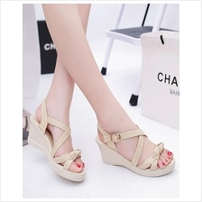 Elegant Cross Wedge Sandals (Cream)