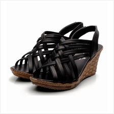 Bohemian Style Cross Wedge Sandals (Black)