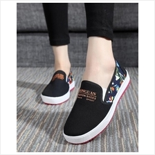 Floral Breathable Comfortable Pump Shoes (Black)