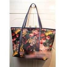 Retro Flower Single Shoulder Bag 15487 (Dark Blue)