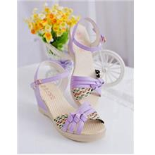 Fashion Cross Wedge Sandals (Purple)