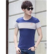 Korea Style Stripe Show-slim Men T-shirt (Blue)