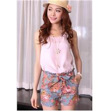Countryside Floral High Waist Tie Shorts