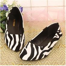 Korean~Zebra Pattern Flat Base White Shoes