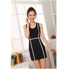 Show-slim Sleeveless Dress (Black)