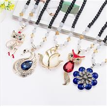 Korea Style White Jewels Long Type Necklace