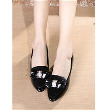 Lovely Diamond Ribbon Pump Shoes (Black)