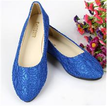 Korean~Velvet Flat Base Shoes (Sapphire Blue)