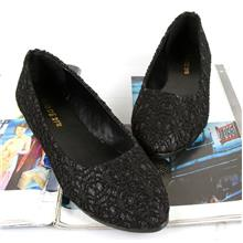 Korean~Velvet Flat Base Shoes (Black)