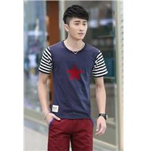 Fashion Stripe Sleeve Star Printing Men T-shirt (Blue)