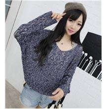 Loose V-neck Long Sleeve Knit Blouse (Dark Blue)